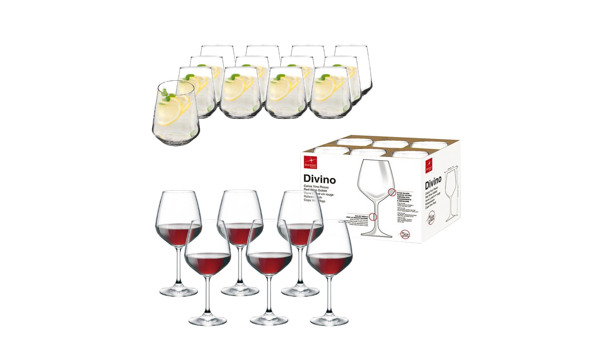 Shportë Kuzhine 6 Gota Vere Divino dhe 12 Gota Uji Contea Falas