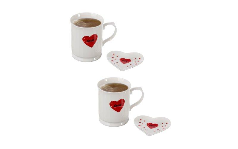 Shportëz Heart Filxhan Çaji me Pjatë 4 Copë