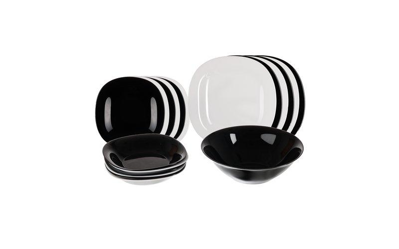Luminarc Carine Set Pjatash të Bardha dhe të Zeza 19 Copë